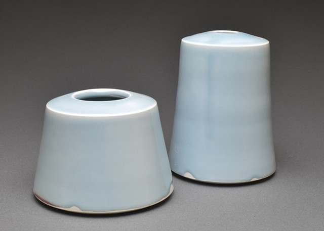 Porcelain vases with celadon glaze