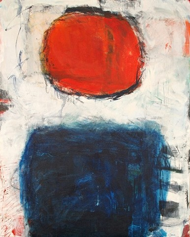This abstract painting of the sun also rises is by Sarasota artist Lori Simon and is a contemporary art painting