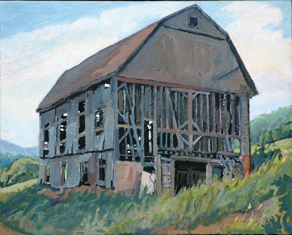landscape oil painting of barn by Richard Kirk Mills