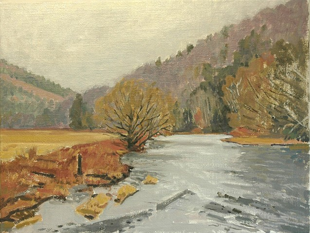 oil painting of the Delaware River West Branch at Delhi NY by Richard Kirk Mills