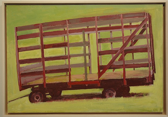 acrylic painting of hay wagon, NY state by Richard Kirk Mills