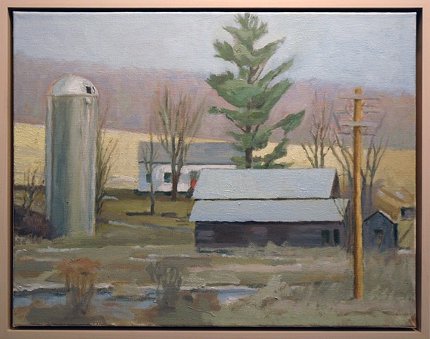 Wetland with Robert's studio, house and silo