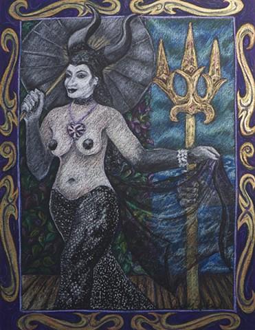 Gothic inspired Mermaid parading at Coney Island