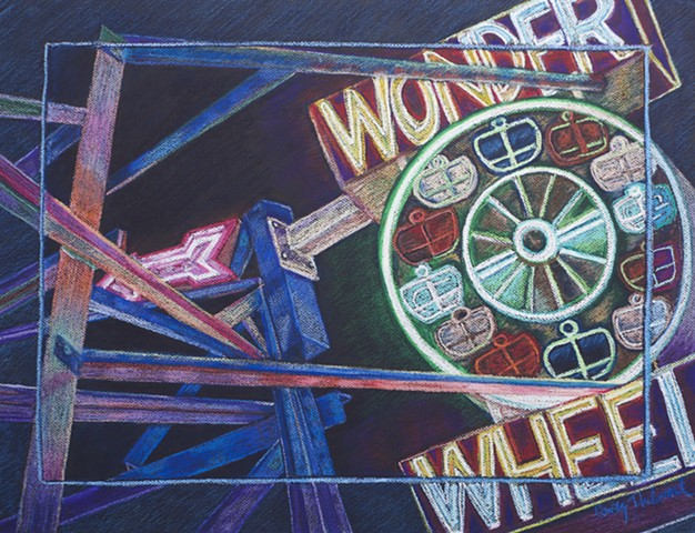 Wonder Wheel Sign, Coney Island at night