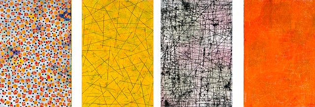 red, yellow, texture, joyful, colorful, paper, mixed media, black and white