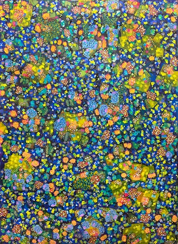 blues, yellow, green, abstract, patterned, decorative, cheerful, colorful, detailed