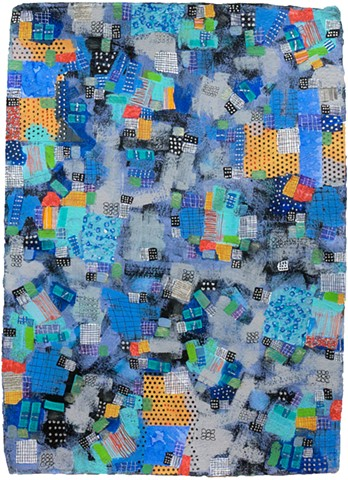 blues, sparkle, black and white, metallic, fine detail, fun, playful, cheerful, collage, colorful