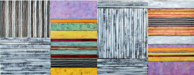 black and white, orange, green, violet, purple, stripes, canvas, paper