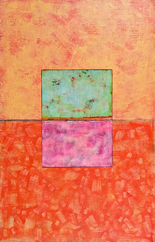 collage, mixed media, canvas, orange, cheerful, bright, green
