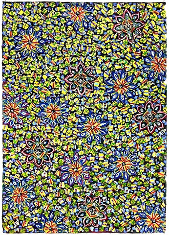 blue, green, yellow, floral, decorative, pattern