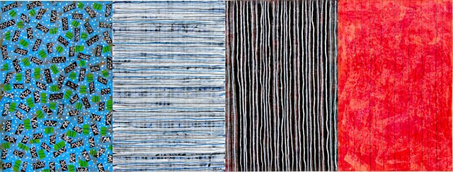 blues, black, red, mixed media, canvas, paper, painting, cheerful, bright, black and white, stripe, acrylic