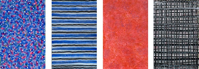 red, blue, on paper, vibrant, texture, abstract,