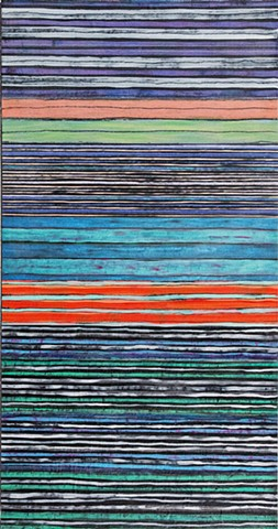 blue, black, fine, stripe, vivid color, mixed media, multicolor, abstract,