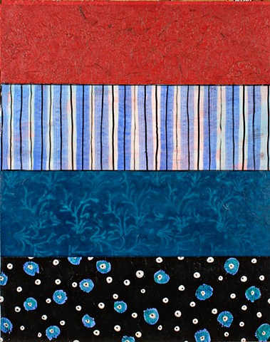 mixed media, acrylic, collage, works on paper, colorful, cheerful, contemporary, minimal, dramatic, dark red, black and white, blue