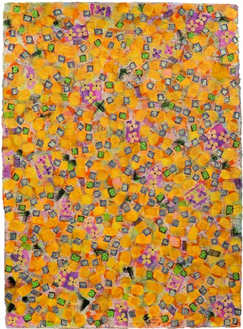 orange, pink, green, gray, vibrant, great detail, floral, collage, colorful, playful,