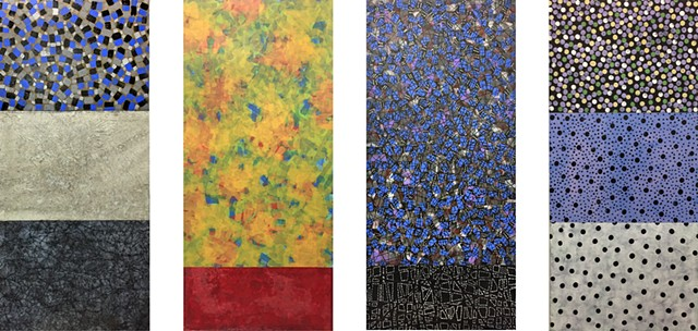 Gray, Blue; Yellow Deep Red, Black; Dots, White, dots, yellow, abstract, colorfield, on paper, mixed media