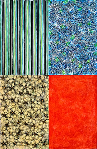 Blue, stripes, pattern, contemporary, modern, cheerful, red, green, yellow, pattern, rich,