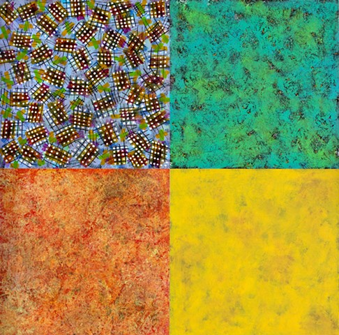 Mixed media, canvas, paper, orange, yellow, green, blue, minimal, cheerful, playful, pattern