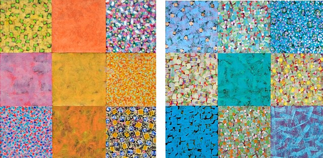 collage, pattern, yellow, orange, blue, wallpaper,