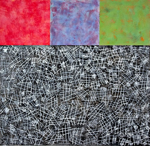 red, green, black, blue, silver, mixed media, canvas