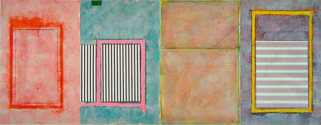 soft, greyed, lovely, mixed media, pinks, stripes, abstract, paper on canvas