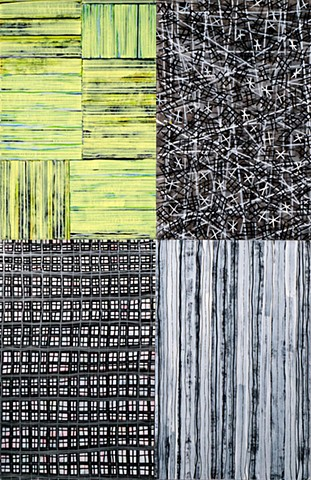 black and white, pattern, playful, pale green, on paper, abstract,