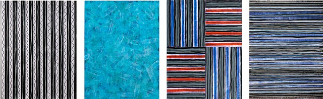 blue, black and white, stripes, minimal, mixed media