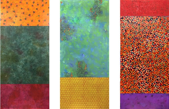 From left: Orange, Green, Deep Yellow, Red, Purple, Orange, Pattern, texture, colorful