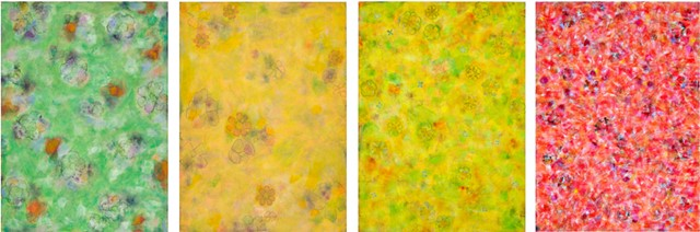 red, yellow, green, orange, on paper, multicolor, cheerful, flowers, mixed media