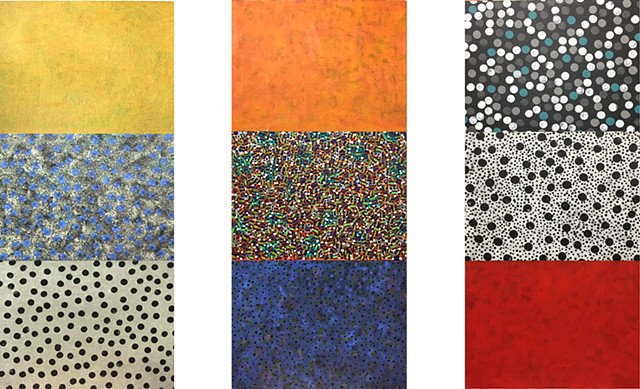 polka dots, red, orange, pattern, minimal, colorfield, blue, mixed media