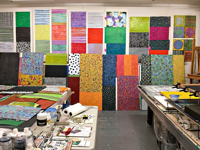 studio, process, color, abstract, art studio, workspace, artist process