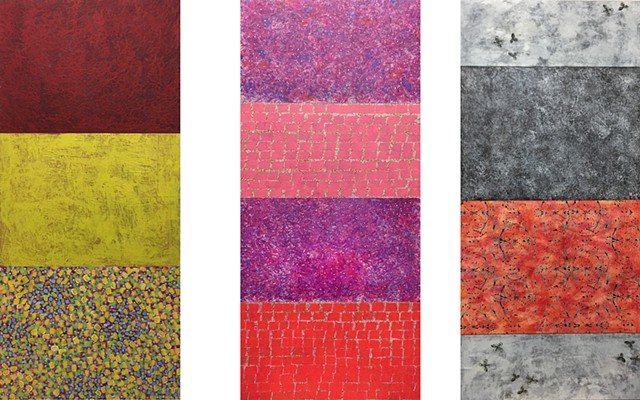 gray, red, pink, minimal, pattern, yellow, mixed media, on paper, tall, iconic, violet