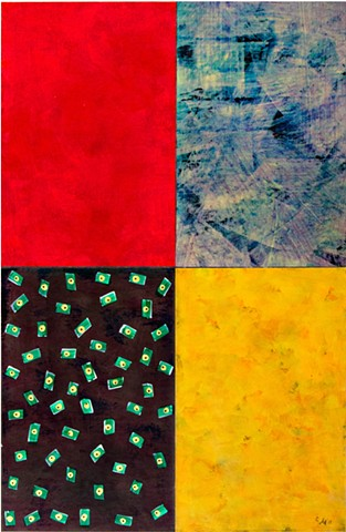 abstract, grey-blue, red, yellow, black, bright, paper, canvas, mixed media