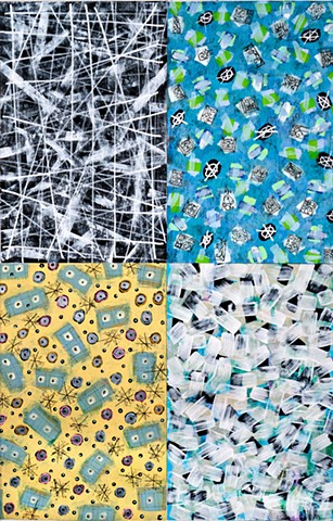 Blues, pattern, black and white, yellow, green, playful