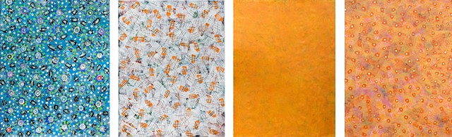 orange, blue, fine detail, fun, playful, cheerful, collage, colorful