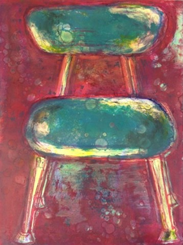 School Chair #3 Monotype. available @ The Stillwater Art Guild Gallery, Stillwater, MN