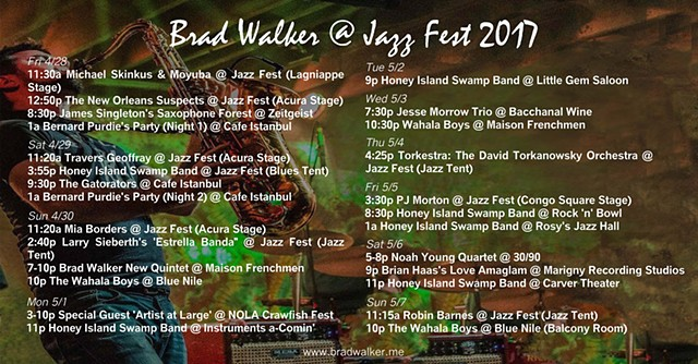 Brad Walker New Orleans Jazz Fest Schedule