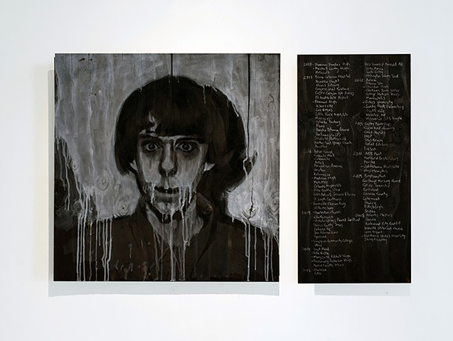 Ash, charcoal and oil on burned panel. Adam Lanza. Sandy Hook Elementary. School Shooting