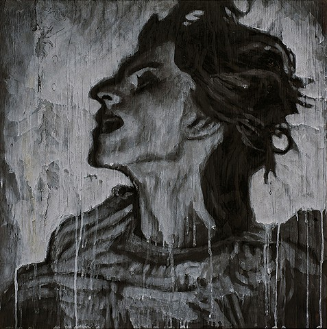 Ash, charcoal and oil on burned panel. Anneliese Michel. Exorcism