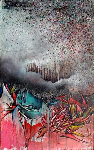 abstract painting of feathers and storm cloud