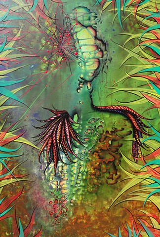 wild woman in jungle, surrealism, original art