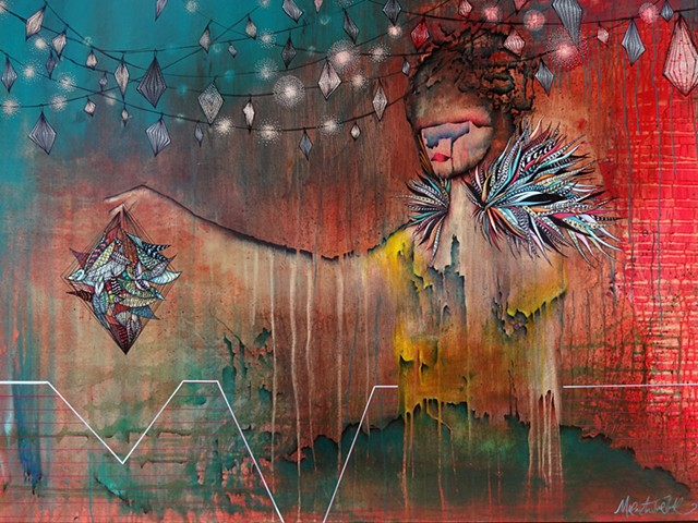 Carnival themed art, woman at the Fair holding birdcage with colorful feathers