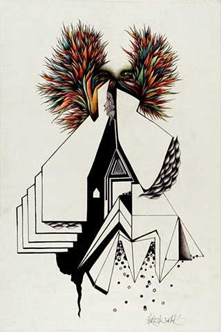 Black and white surreal geometric draing of person with colorful feathers
