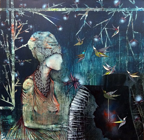 Surreal Painting of Woman Playing Piano with Birds
