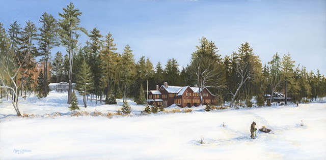 Oil Painting of houses from the shore of Kezar Lake in Winter