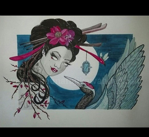 All Rights Reserved By Shauna Fujikawa Stickles Tattoos & Art- Geisha & Crane