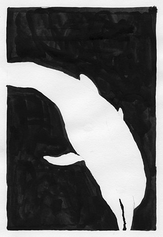dolphin diving watercolor, black and white