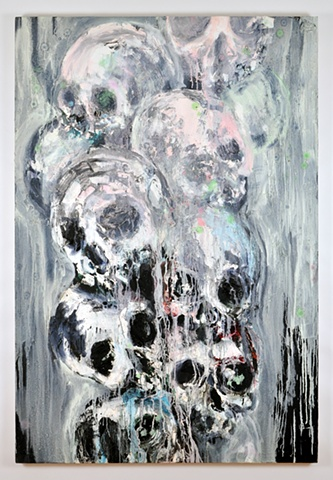 painting, interior design, interior decorating, contemporary art, skulls