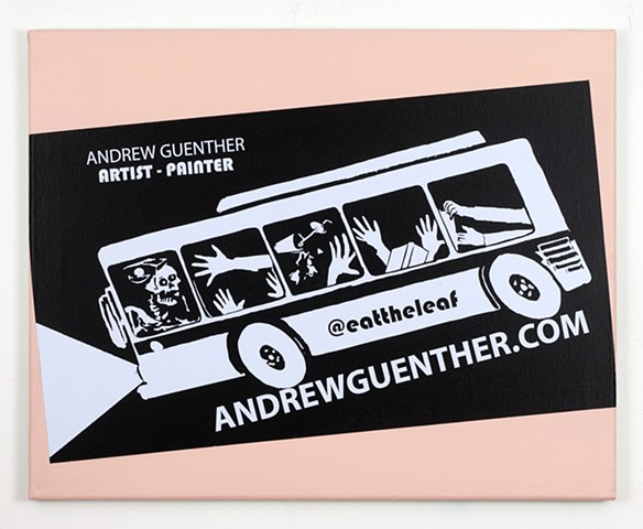 business card painting with out of control bus and instagram account
