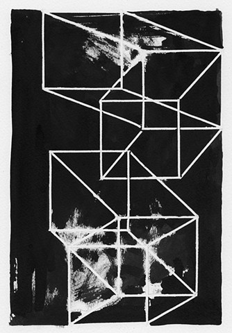 geometric art, black and white, bent space